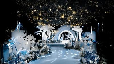 唯美梦幻的蓝白色森系童话主题婚礼