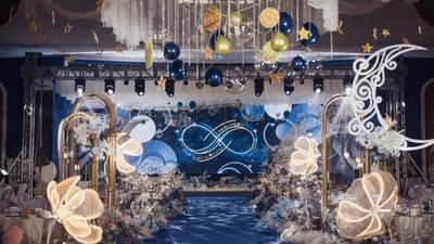 有着层层递进空间设计感的星空主题婚礼