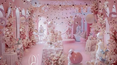 唯美且梦幻的粉色系童话梦幻乐园主题婚礼