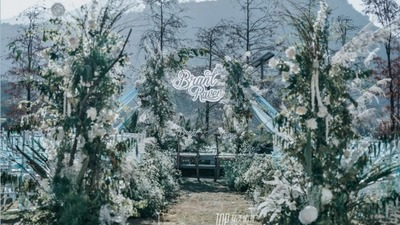 以雾霾蓝为主色调小众又有格调的户外婚礼
