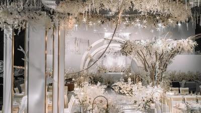 星光熠熠的梦幻浅香槟色+白色系韩式婚礼