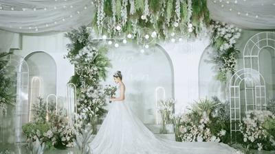 牛油果绿色+白色系婚礼