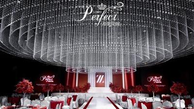 简约又不失奢华的红色+白色系水晶主题婚礼