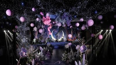 具有魔幻色彩的蓝色+紫色系王者荣耀主题婚礼
