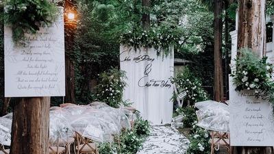 白绿色系极简风户外婚礼