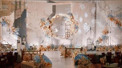 营造出古风韵味之美的香槟色+莫兰迪蓝色新中式婚礼