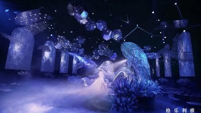 一场用数十万颗水晶打造的海洋之谜沉浸式婚礼
