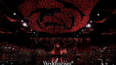 以玫瑰花为设计主题炽热而又浪漫的红色系婚礼