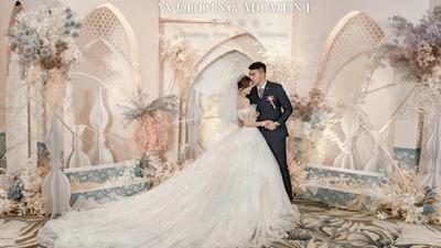 香槟色与浅蓝色相碰撞,打造一场时尚而前卫的摩洛哥风婚礼