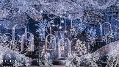 以仲夏夜萤火虫为设计灵感的浪漫星空蓝色系婚礼