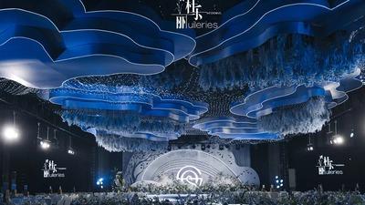 还原天空之境纯净而梦幻的蓝色+白色系婚礼