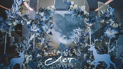 以冰雪世界为设计灵感的蓝色+白色系婚礼