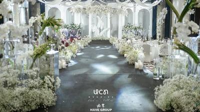温和浪漫且简约轻奢的白绿色系韩式婚礼