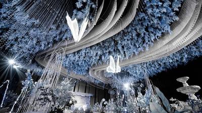 有着莫奈油画质感般的蓝紫色系法式风情婚礼