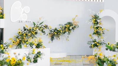 清爽的白色+黄色+绿色系户外婚礼