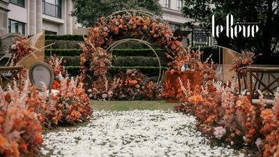 用咖啡色衬托橘色的绚烂,呈现一场充满了典雅韵味的婚礼