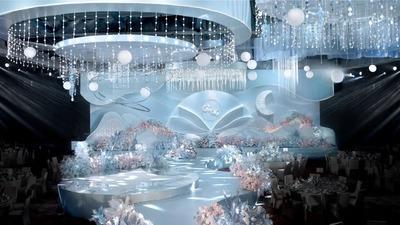 让清凉和梦幻穿透整个空间的浅蓝色+浅粉色系婚礼