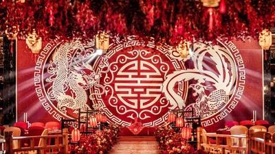 在喜庆氛围里融入了古典韵味的中式婚礼