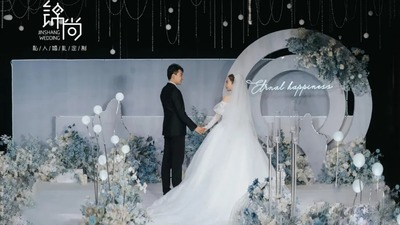 唯美清新的蓝白色系婚礼