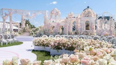 大气唯美且浪漫的粉色系欧式宫廷花园风户外婚礼