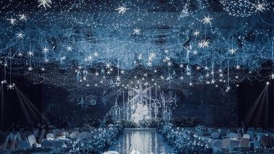 静谧蓝+亮银灰色系星空婚礼