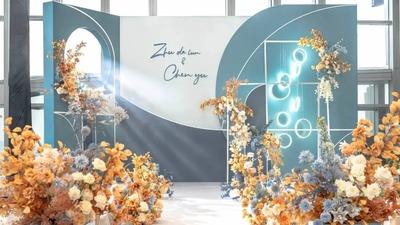 自带明媚画面感的蓝色+橙色系几何设计风格婚礼