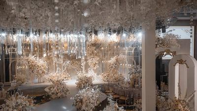 典雅恬静的香槟色+白色系法式花园风婚礼
