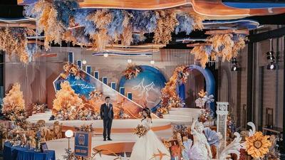 如同掉进了油画里的橙蓝色系秋日复古风婚礼