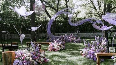 浪漫温柔的粉紫色系婚礼