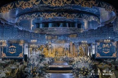 蓝金色系的欧式婚礼