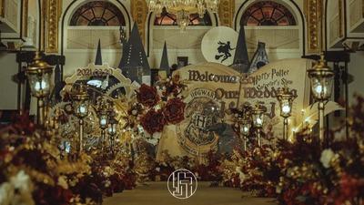 有着独特梦幻魔法风格的哈利波特主题婚礼
