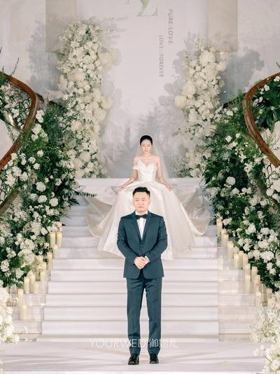梦幻纯净的白绿色系婚礼